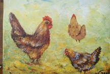 """Pelagie et ses amies poulettes """" Acrylique """""""