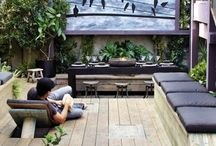 Roof Decks / Inspiration and ideas for roof deck / outdoor spaces.  Outdoor architecture, privacy walls, planters, foliage, color schemes and furnishings.