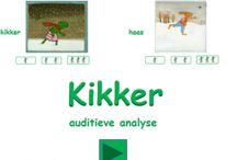 Taal: Auditieve analyse en synthese / Oefeningen rondom auditieve analyse (het horen van de klanken in een woord) en auditieve synthese (het aan elkaar plakken van letters tot een woord)