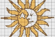 Cross stitch - sun, moon and stars
