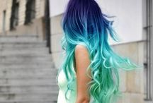 Turquoise, purple, pink silver hair