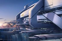 Sci-Fi Buildings / A collection of reference material for sci-fi buildings to be used for inspiration and concept art.