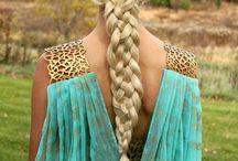 beautiful hair styles (braids, ponytails, etc)