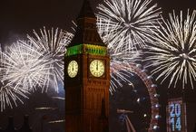 """London NYE Fireworks / The London New Year's Eve fireworks, centred on the London Eye and the River Thames remains the largest and most watched display in the UK.  """"BBC One's coverage of London's New Year's Eve fireworks display achieved the biggest average TV audience of 2013 with over 13 million people watching live, beating such shows as I'm a celebrity get me out of here, strictly come dancing and even the Wimbledon Men's Final."""""""