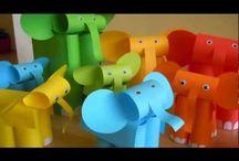 papierowe przestrzenne słonie i inne