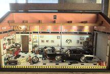 Diorama Oficina Carro Dodge Charger - Velozes e Furiosos Esc. 1:24 - 48L x 26H x 22P - Personalizada