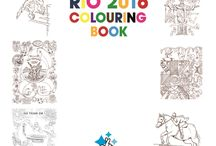 "Welcome to the ""RIO 2016 Colouring Book / We've worked with lottery funded arts projects in areas all across the UK to create the beautiful RIO 2016 colouring book"
