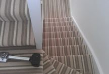 Stripey Stair Carpet With Many Colours / Client: Private Residence In East London. Brief: To uplift existing flooring and supply & install new carpet to stairs.