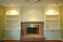 Built in shelves fireplace