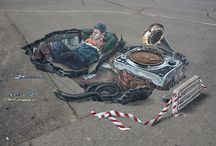 My 3D-art / My 3D-paintings and drawings on pavement and walls around the world.