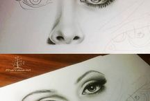 art / drawing of lips, eyes, hair