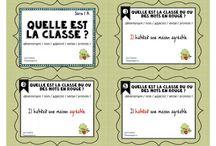 cartes à tâches Français / cartes à tâches sur les classes de mots, les déterminants, les verbes...