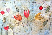 Anita Bell - Silk Paper and Stitch / Handmade silk paper with free machine embroidery and watercolour.  www.anitabellpaperworks.com