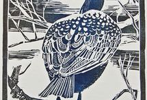 Bird lino and woodblock prints / Birds