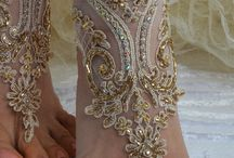 Champagne french lace sandals wedding anklet Beach by newgloves,