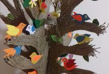 Ptaki i Drzewa / Prace plastyczne. Wycinane z papieru