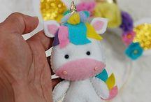 unicornio llavero fieltro