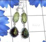 Druzy Earring / Window Druzy with Genuine Gemstone 925 Silver Handmade Fancy Earring