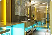Luxury Bathroom Concept / Luxury bathrooms with a unique teal and yellow lighting, setting a surreal mood for the unfolding of the most serene experience.  Conceptualized and designed by #TheFirstFerry: www.thefirstferry.com  #Bathroom #Luxury #Artistry #InteriorDesign #Blue #Yellow