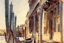 """Venice paintings: Sargent / John Singer Sargent (January 12, 1856 – April 14, 1925) was an American artist, considered the """"leading portrait painter of his generation"""" for his evocations of Edwardian era luxury. During his career, he created roughly 900 oil paintings and more than 2,000 watercolors, as well as countless sketches and charcoal drawings. His oeuvre documents worldwide travel, from Venice to the Tyrol, Corfu, the Middle East, Montana, Maine, and Florida."""