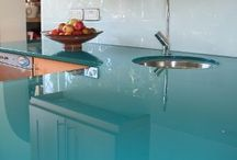 Kitchen glass counter tops