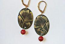 collection Ginkgo biloba / bijoux en laiton gravé à la main de motif de Ginkgo biloba