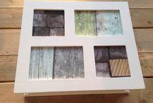Kistje met steigerhout behang! / Kistje met fotolijstjes voorzien van steigerhout behang ipv foto's. Zo creëer je een stoere look.