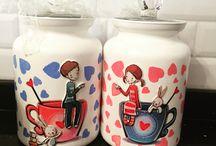 Dekupaj Kavanoz,Tepsi / Mutfağınıza şıklık katacak aynı zamanda sevdiklerinize de hediye edebileceğiniz saklama kavanozları ve ahşap tepsiler...