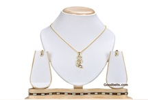 Neck And Ear / http://goodbells.com/indian-jewellery/pendant-set.html / by Goodbells.com
