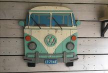 VW bus oud hout