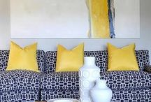 grey + yellow + navy decor / redecorating an underutilized room for use as a rec room. grey with yellow and navy accents. dark wood furniture. / by meero