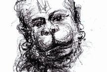 Hanuman - Chalk and Crayons