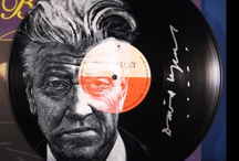 Vinyl Art autographed for David Lynch / http://vinylart.info/dlfm.htm - pieces painted for DLF Music signed by the subjects for auction