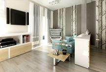 Mieszkanie w pastelowych barwach / Projekt wnętrza mieszkania został zaprojektowany w jasnych pastelowych barwach z przewagą bieli. Architekt ocieplił wnętrze przez zastosowanie dębowych elementów.Tapeta z konarami drzew stanowi główny motyw w mieszkaniu i występuje w całym wnętrzu.