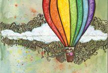 elementary art - hot air balloons