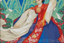 China, Korea and Vietnam art / asian traditional clothes