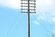 架空裸線路支持柱 (ハエたたき)telephone pole