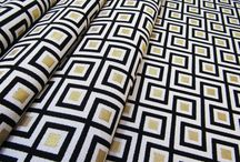 "Tropical Art Deco Interior / These fabrics and images are influenced from the ""Tropical"" retro style that is ""Art Deco Miami"".... With its mixture of Geometric and angular forms, exotic materials, and linear decoration are characteristic features of Art Deco design."