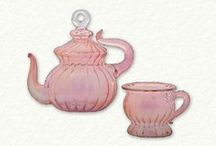 Egyptian Glass Tea Cup and Teapot Ornaments / Gorgeous handcrafted glass ornaments in the shape of tea cups and teapots.