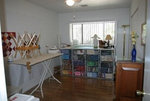 Stitching Studio Ideas / Collecting real-world ideas (not just pretty sales photos) for organizing my stitching so I can get to it more easily, spend more time with it. My writing and stitching has to share the same small studio space: big challenge.