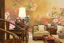 Papier peint d'artiste peinture à l'encre de Chine - Les fleurs de cerisier