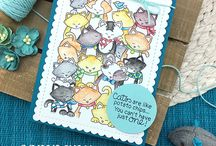 Company of Cats - Stamp Set / Our favorite feline, Newton, is hanging out with all his kitty friends in this amazing stamp set. This fun stamp set includes one giant stamp filled with feline friends that is the just the right size to fill your card front!