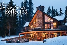 Mountain Style Homes / If you plan to build a home in a beautiful mountain community, you will want your home to reflect it's surroundings. What better way than with a timber frame home? Steeper roof pitches, prow windows and exterior timber frame elements are hallmarks of Riverbend mountain designs.