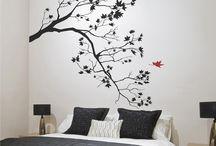 arbol pintado en pared