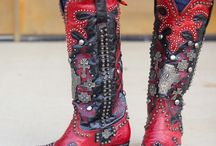 """Double D Ranch Boots. / The cowgirl boot collection designed by Double D Ranch for Lane Boots is absolutely stunning! The details are impeccable, from the intricate patterns to the funky hardware. With boot names like the """"Frontier Trapper,"""" the """"Ammunition,"""" and the """"Killa Biker,"""" you know you're getting a creatively unique pair of cowgirl boots! Enjoy shopping the selection of Double D Ranch Boots from RiverTrail!"""