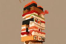 Sushi Moodboard 1 - Art, bright colours