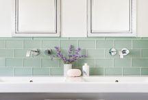 Kitchen / Love the sea glass tile backsplash.  / by Danielle Fry