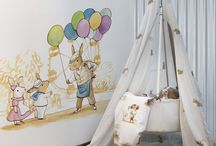 Children's 'Bunny's Day Out' Wallpaper & Wall-Murals collection / Come join us on our new adventure with the family of bunnies from Coordonné's childrens collection!  Whether it be catching butterflies, eating a picnic, racing cars or surfing, this group of bunnies will fuel your child's imagination!  This collection includes a beautiful range of designs in wall coverings, murals, borders and fabrics.