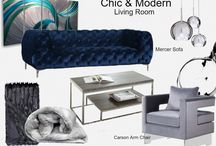 Chic & Modern Blue Living / Meridian Furniture - Shake off the Monday Blues With a Chic & Modern look. Check out the Mercer Living Room Set and the Carson Accent Chair.