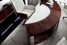 Presidential Desks by Giorgio Collection exclusively at Euro Casa. / ジョルジオ・コレクションの家具は、世界中から厳選した銘木の突き板に鏡面塗装を施しています。 ローズウッドやバーズアイ・メープル、タモ材が奏でる美しい模様はインテリアを上質に演出します。 デスク類も充実しており、プレステージ感溢れるワークエリアを実現します。 https://www.euro-casa.co.jp/brand/brand123.html